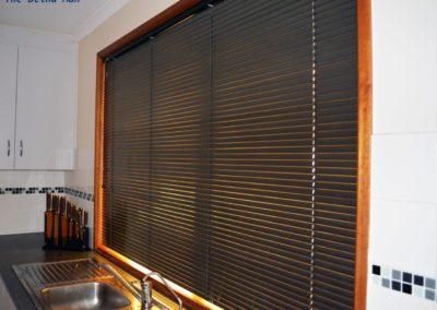 slimline venetian slats are approx 25mm wide installed in Woodcroft