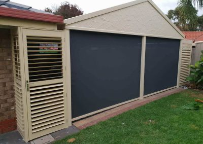 Zip screen blinds combined with plantation shutters